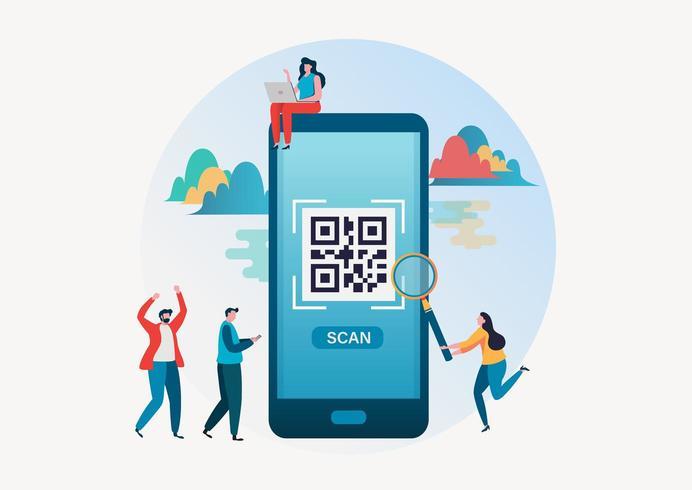 Mensen scannen qr-code voor betaling via smartphone vector