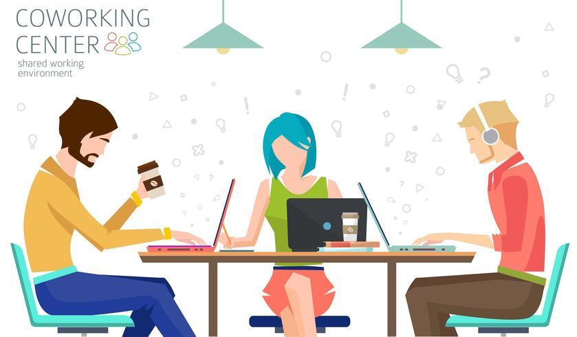 Mensen die aan tafel werken. Concept van gedeelde werkomgeving. vector