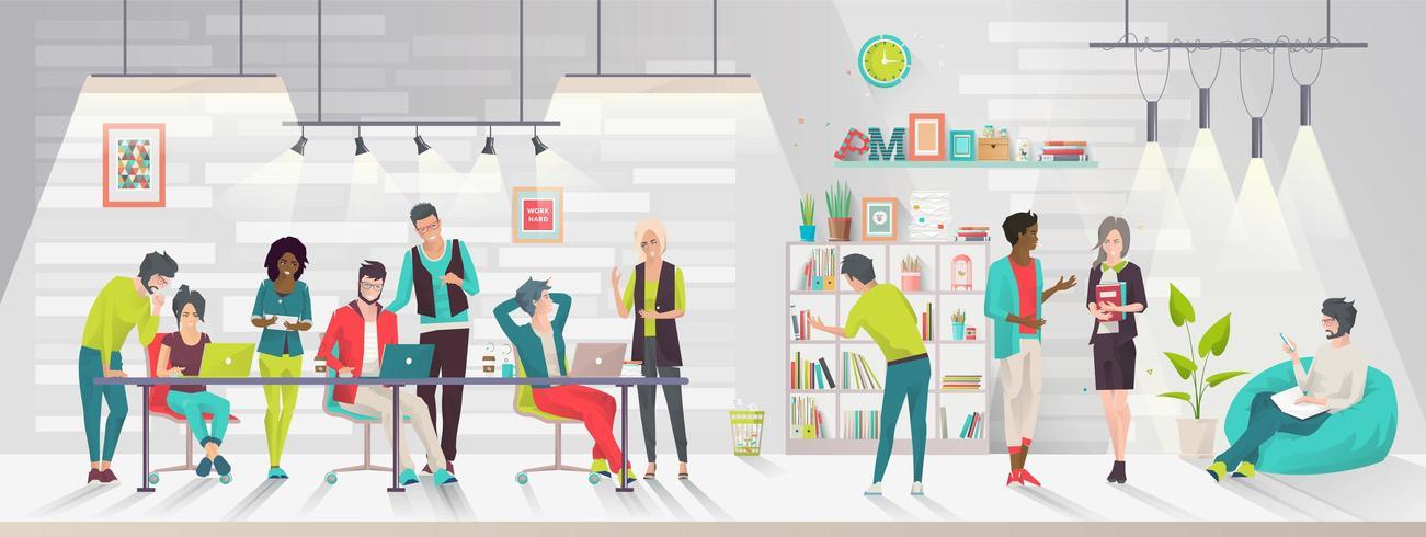 Concept van het coworking center. vector