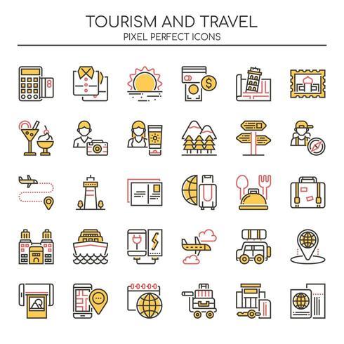 Set van Duotone dunne lijn toerisme en reizen iconen vector