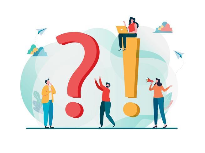 Veelgestelde vragen concept. Vraag en antwoord metafoor. vector