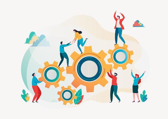 Teamwerk en teambuilding afbeelding met mensen en versnellingen vector
