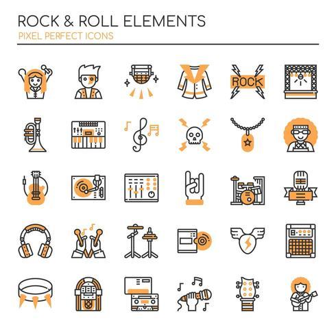Set duotone dunne lijn rock and roll-elementen vector