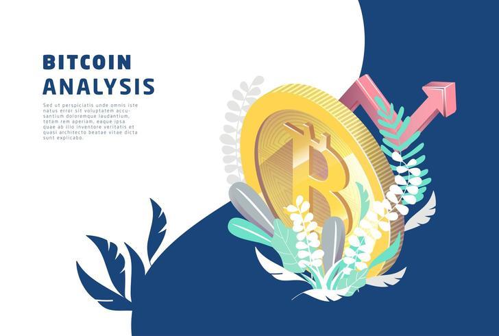 Isometrisch concept met bitcoin omgeven door planten. vector