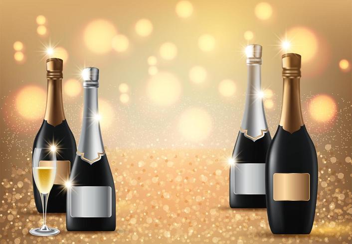 Glazen champagne op licht vector