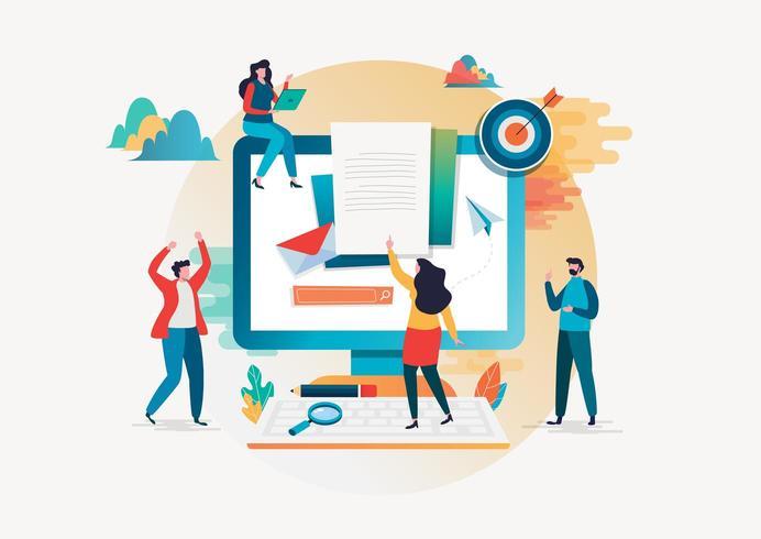 Werving concept. Human Resources plat ontwerp. vector