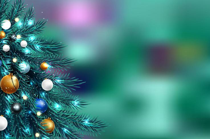 Wazig lichten kerstboom vector