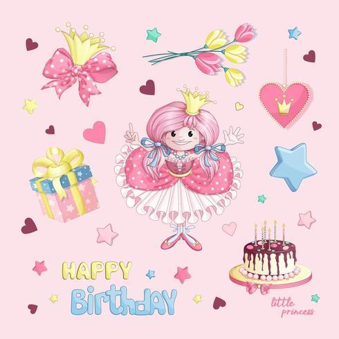 Prinses verjaardag set vector
