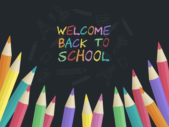 Terug naar school kleurrijke poster sjabloon vector