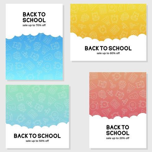 Set van terug naar school verkoop poster sjablonen vector