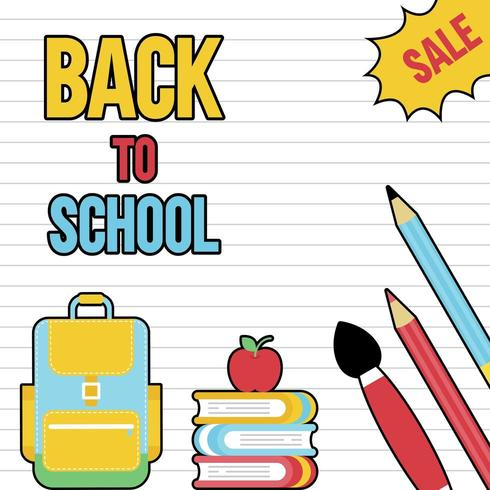 Retro terug naar school verkoop, schoolbenodigdheden poster sjabloon vector