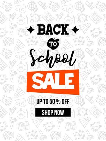 Zwart en wit Terug naar school, schoolbenodigdheden verkoop poster sjabloon vector
