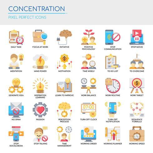 Set van kleur platte concentratie iconen vector