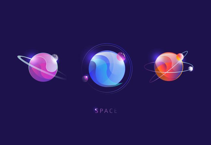 Reeks kleurrijke futuristische planeten vector