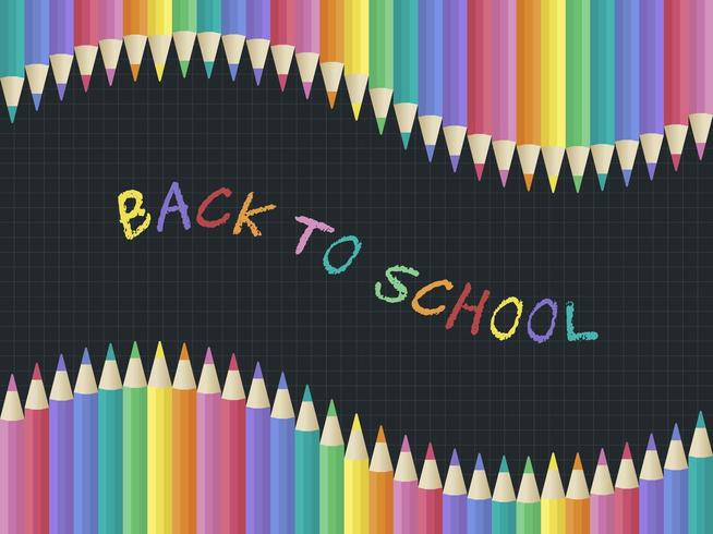Rainbow Chalk Back to school, Kleurpotlood-postersjabloon vector