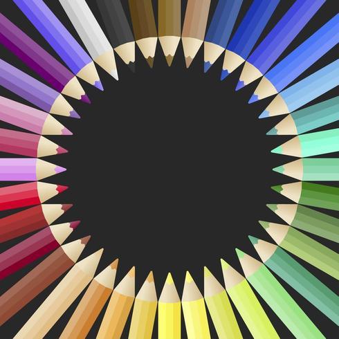 Veelkleurige potlood poster sjabloon vector