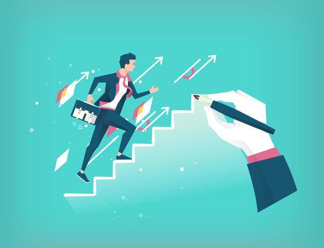 Hand trekt een ladder om jonge aankomende zakenman te leiden vector