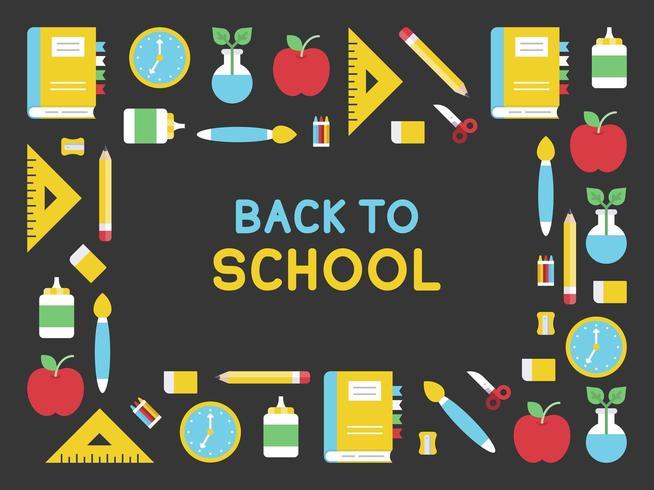 Schoolbenodigdheden moderne terug naar school poster sjabloon vector