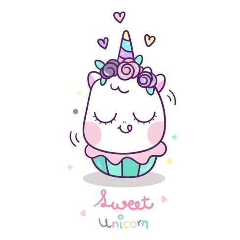 Leuke eenhoorn cupcake cartoon vector