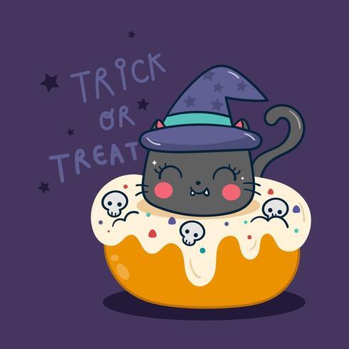 Kawaii Halloween cupcake pompoenbeeldverhaal vector