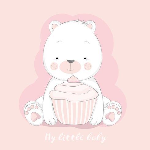 schattige baby beer met cupcake vector