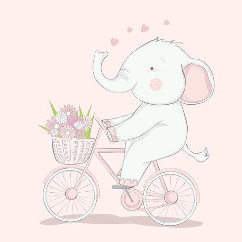 schattige babyolifant met fiets vector