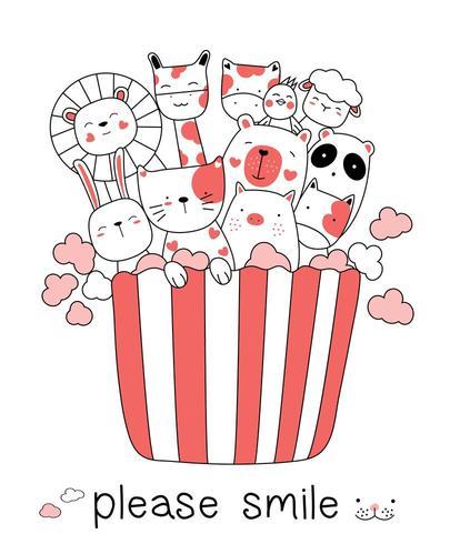 Schattige baby dier en popcorn cartoon vector