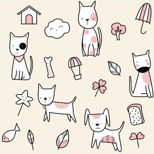 schattige baby hond cartoon - naadloos patroon vector