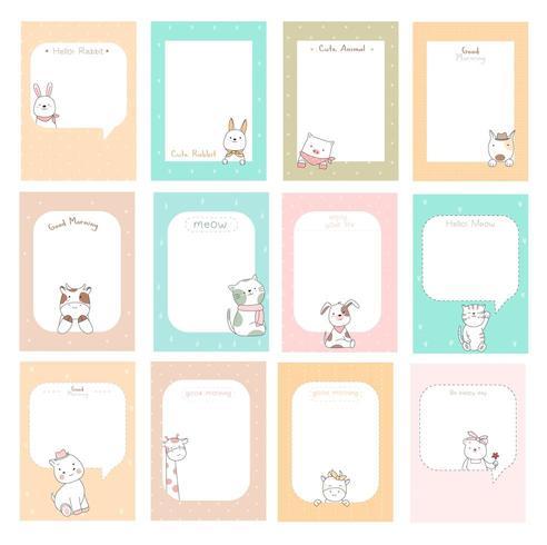 schattige notities met baby dieren vector