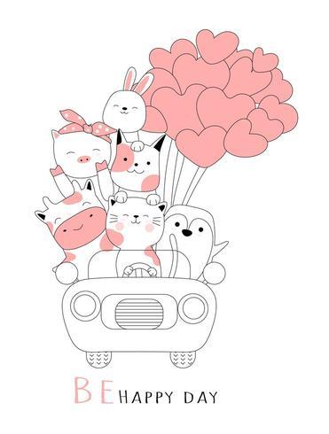 Schattige baby dier met auto cartoon hand getekende stijl vector