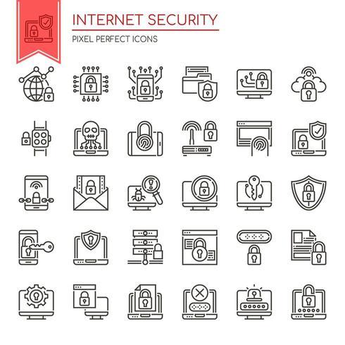 Set van zwart-wit dunne lijn internetbeveiligingspictogrammen vector