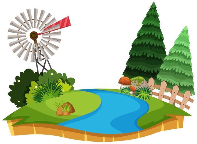 Een prachtig natuurlandschap met bomen en windmolen vector