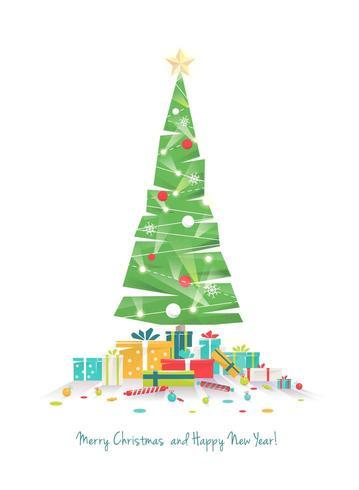 Vlakke stijl kerstboom en geschenken vector