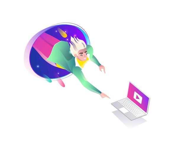 Mens die van teleport naar laptop valt vector