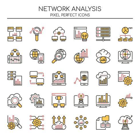 Set van Duotone dunne lijn netwerk analyse iconen vector