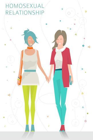 Twee vrouwen lopen samen hand in hand vector