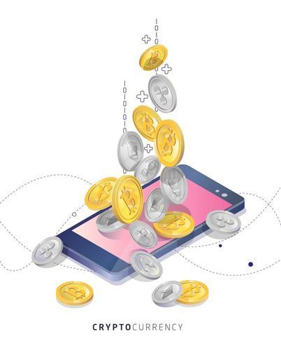 Cryptocurrency kopen en ontvangen vector