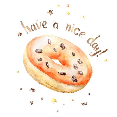 Aquarel oranje donut met Have a Nice Day tekst vector