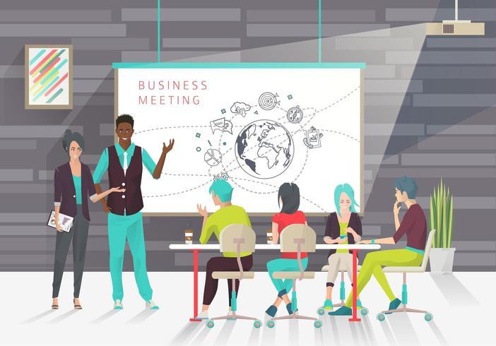 Mensen op een zakelijke presentatie of conferentie vector