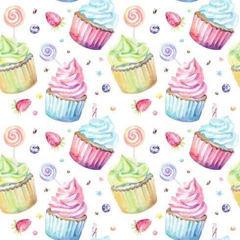 Waterverfpatroon met cupcakeslollys en bessen vector