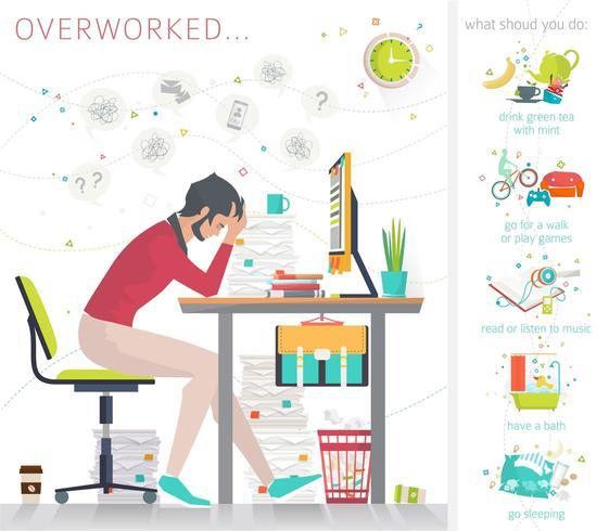 Zijaanzicht van de overwerkte man aan het bureau, omringd door stapels papierwerk en tips over hoe te ontspannen vector