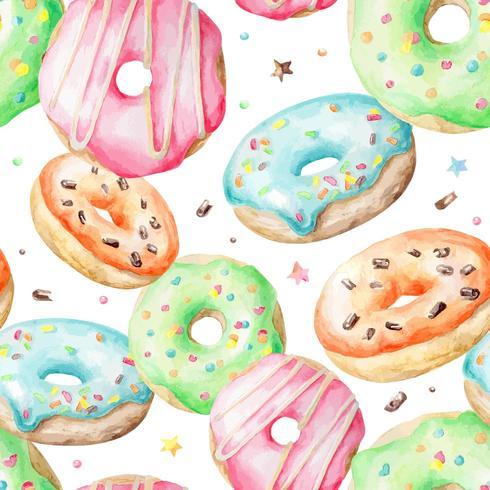 Aquarel patroon met donuts vector