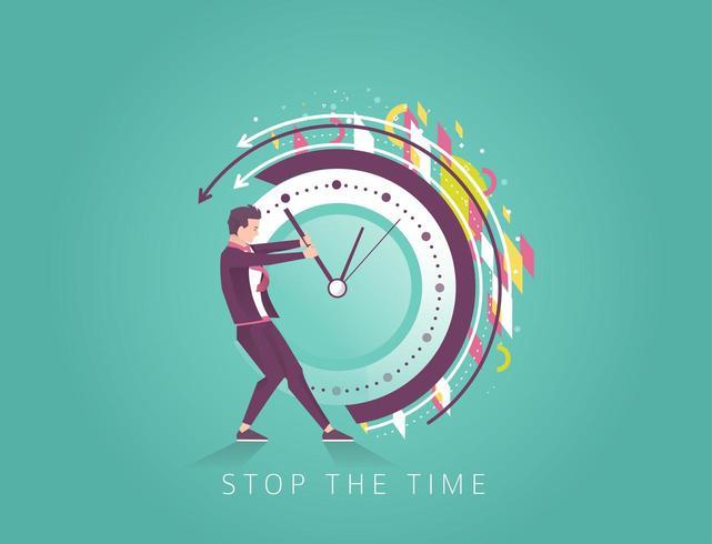 Zakenman die de tijd probeert te stoppen vector