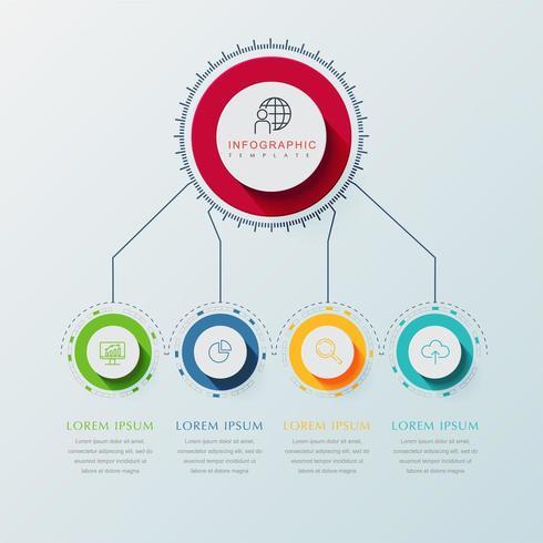 Circulaire Infographic in 4 stappen met lijnen die verbinding maken met een grote cirkel vector