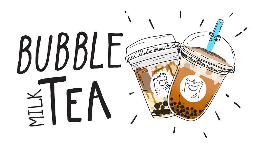 bubble melkthee doodle stijl poster vector