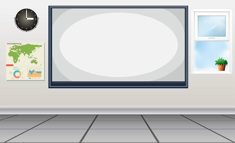 Klaslokaal met whiteboard en kaart vector
