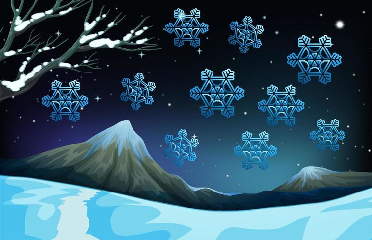 Sneeuwvlokken vallen op de grond vector