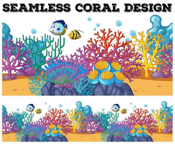 Naadloos koraalrif onder de oceaan vector