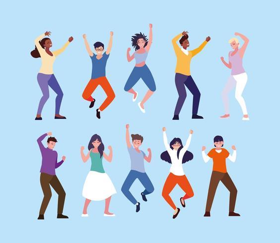 groep jongeren vieren met handen omhoog vector