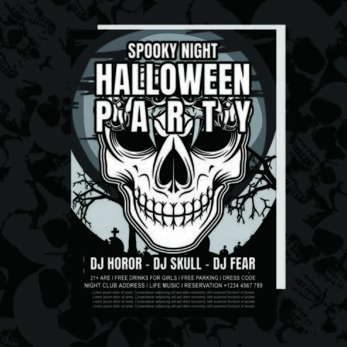 Schedel Halloween partij uitnodiging Flyer vector